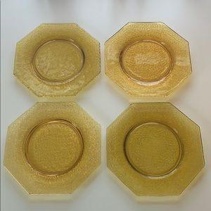 "L. E. Smith Amber crackle Glass 8"" Plate set/4"